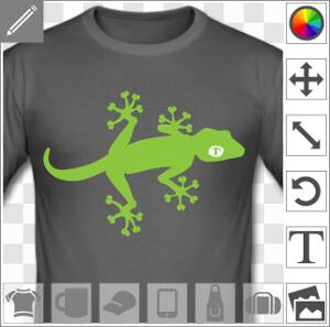 Gecko de profil, au corps fin et aux doigts de pattes écartées, un design 2 couleurs en format vectoriel à imprimer sur t-shirt, tasse, cadeau etc.
