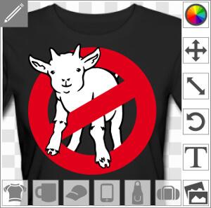 Goatbusters, jeu de mot goat / ghost, blague geek. I ain't afraid of no goat. Parodie du logo ghostbuster, avec une chèvre remplaçant le fantôme.