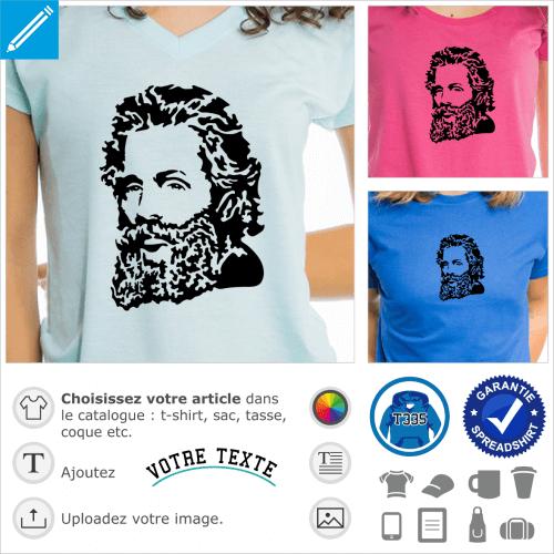 Herman Melville, portrait de l'auteur de Moby Dick spécial impression de t-shirt culture et littérature.