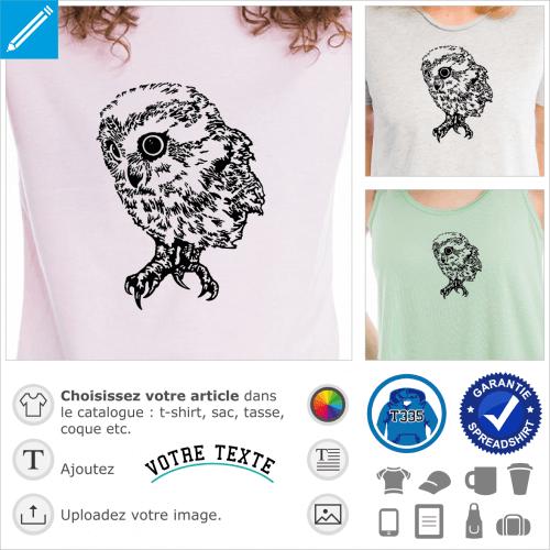Hibou bébé dessiné en style encre de chine et traits fins, image png transparente haute résolution pour impression sur t-shirt, sac, accessoire...