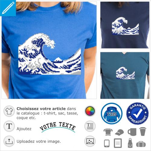 Hokusai, la vague, estampe adaptée en pixel art à imprimer sur t-shirt, tasse, cadeau.