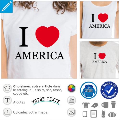 I love America, cœur rond et typo Times simple, design USA deux couleurs.