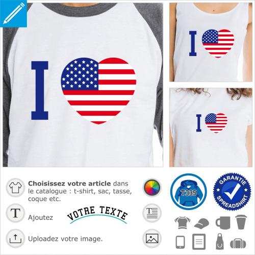 I love America, gros cœur au couleurs du drapeau américain à imprimer sur t-shirt.