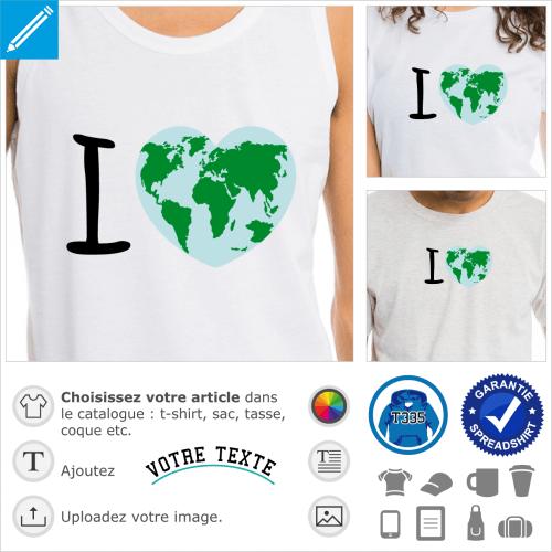 I love Earth, j'aime la terre, carte du monde bombée dessinée sur un gros cœur qui figure la Terre.