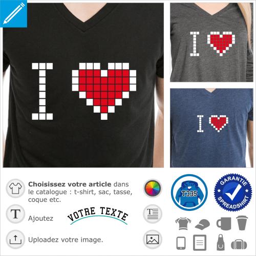 I love geek, cœur dessiné en pixels, un design 2 couleurs à imprimer en ligne sur t-shirt, tasse, sac, etc.
