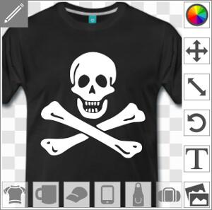 Jolly roger, emblème de drapeau pirate spécial impression t-shirt.