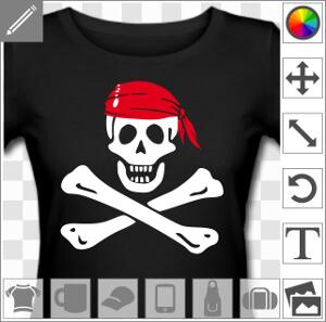 Emblème pirate Jolly Roger à os croisés à imprimer en blanc sur noir.