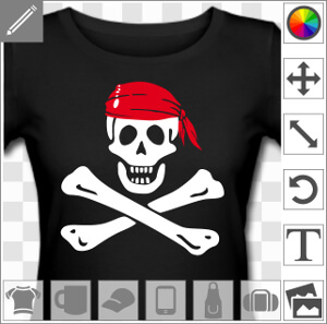 Tee shirt Jolly roger à créer et personnaliser en ligne.