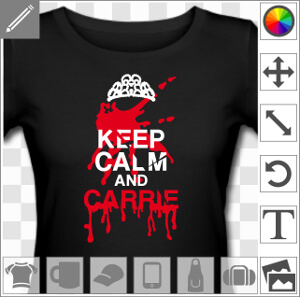 Keep calm and Carrie, référence à Stephen King et parodie de motif Keep Calm and Carry On.