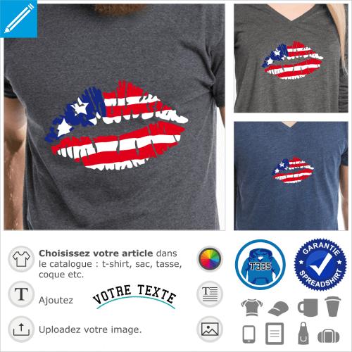 Drapeau américain, design kiss USA avec bouche stylisée à personnaliser.