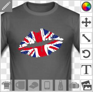 Kiss England, lèvres peintes aux couleurs du drapeau anglais avec le motif de croix centrale et oblique.