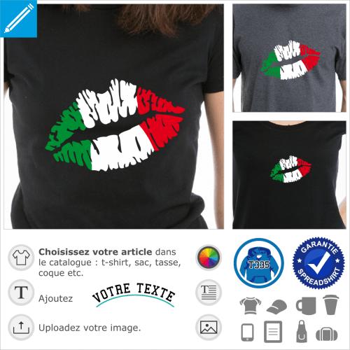 Kiss Italie, drapeau italien peint sur une bouche. Bandes verticales 3 couleurs sur une bouche.