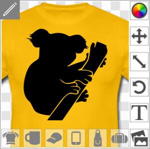 Koala dessiné de profil, un motif une couleur personnalisable.