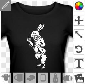 T Shirt Lapin Blanc A Imprimer En Blanc Sur Noir