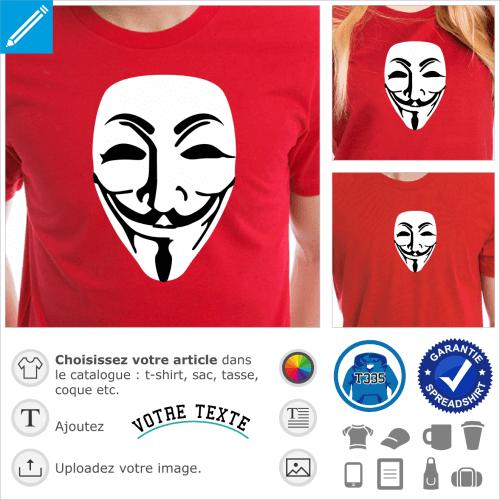Masque anonymous et traits fins, un design geek spécial personnalisation de t-shirt.