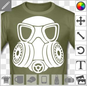 Masque à gaz massif aux formes stylisées, double filtre rond sur les côtés et grosses lunettes.