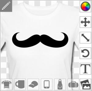 Moustache rigolote à boucles larges, design uni pour personnalisation de t-shirts, cadeaux, accessoires.
