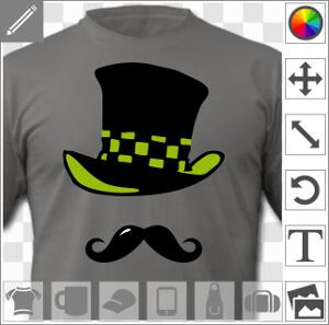 Moustache et chapeau haut de forme à damier du chapelier fou.