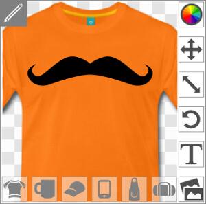 Personnalisez votre t-shir moustache avec cette moustache de hipster une couleur.