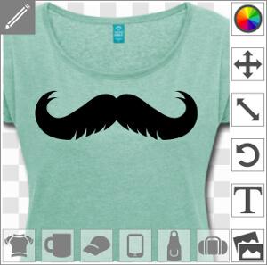 Moustache à gros crans, un design moustache et hipster.