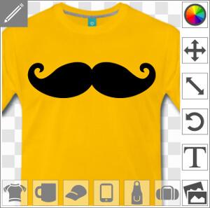 Moustache de hipster à boucles rigolotes à personnalsier et imprimer en ligne.