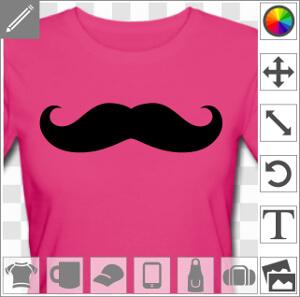 Moustache classique unie à boucles pointues.