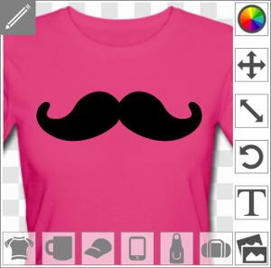 Moustache ronde à boucles épaisses à imprimer sur t-shirt, cadeau, etc. Imprimer un article hipster en ligne.