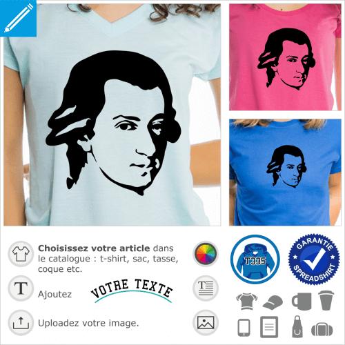 Mozart, portrait à imprimer en ligne sur t-shirt ou tasse musique.