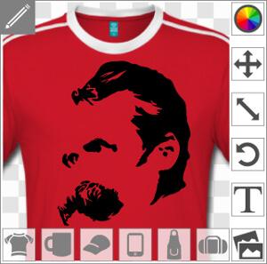 Nietzsche, portrait en tracés noirs de l'écrivain et philosophe, à imprimer sur t-shirt, tasse ou cadeau de couleur claire.