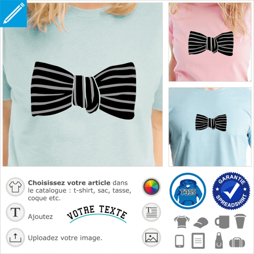 Gros noeud papillon rayé stylisé à imprimer sur un t-shirt.