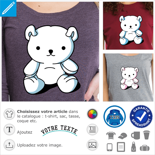 Nounour kawaii stylisé personnalisable 3 couleurs à imprimer sur t-shirt mug ou accessoire.