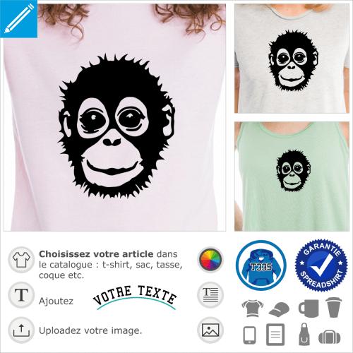 Orang outan, bébé singe stylisé au visage rieur, pour impression sur t-shirt ou accessoire clair.