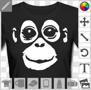 Orang outan dessiné en inversé à imprimer en clair sur support sombre.