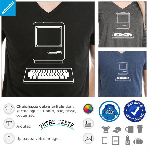 Ordinateur dessiné en traits fins, mac vintage à personnaliser, un design geek et retrogaming spécial impression sur t-shirt.