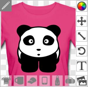 Panda kawaii un peu trapu avec un tout petit nez et une expression mi attentive mi étonnée. Le panda 2 couleurs est dessiné de face. Sa tête semi rect