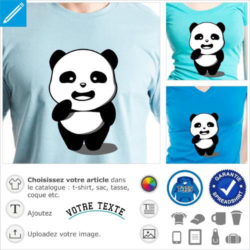 Panda kawaii debout avec ombre portée. Panda opaque rigolo 3 couleurs à imprimer en ligne.