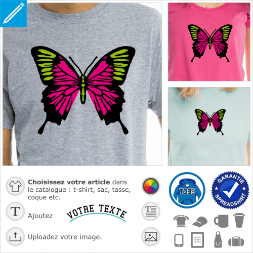 Papillon à trois couleurs, motif coloré spécial impression de t-shirt.