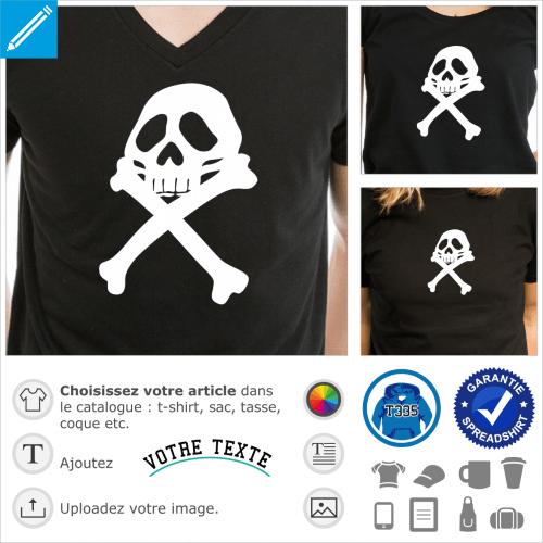 Pirate d'Albator, tête de mort et os en croix du pirate de l'espace à imprimer en blanc sur noir.