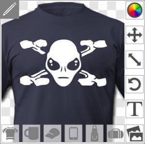 Alien et X de X files dessiné avec des os stylisés et croisés autour du visage.