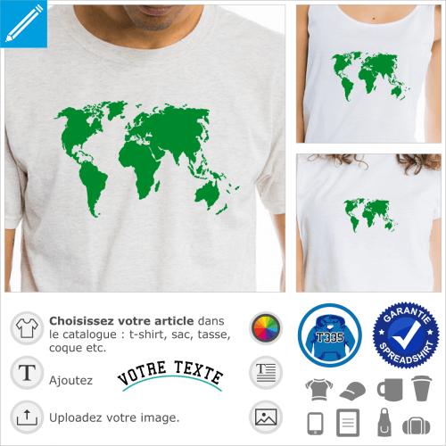 Planisphère une couleur, design Terre et carte du monde spécial impression sur t-shirt ou cadeau.