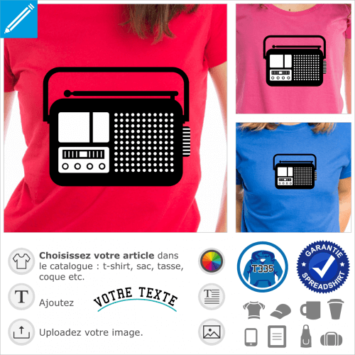 Radio vintage, picto simple deux couleurs à imprimer en ligne sur t-shirt, cadeau, etc.