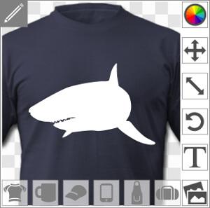 Picto de requin une couleur uni, nageant le nez à l'avant avec l'aileron qui se découpe.