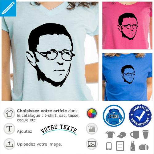Sartre, philosophe existentialiste, portrait stylisé à imprimer en ligne.