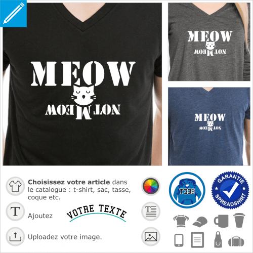 Schrödinger's cat meow, chat de schrödinger qui miaule et ne miaule pas, un motif geek et physique quantique.