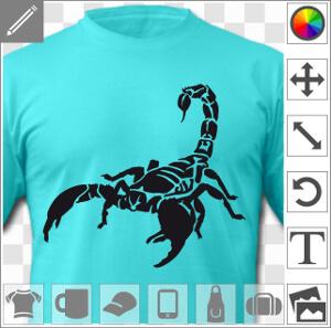 Scorpion une couleur en aplat et découpes à imprimer sur t-shirt tasse ou accessoire.