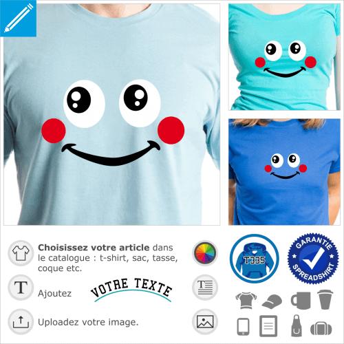 Smiley timide aux joues rouges personnalisables à imprimer en ligne.