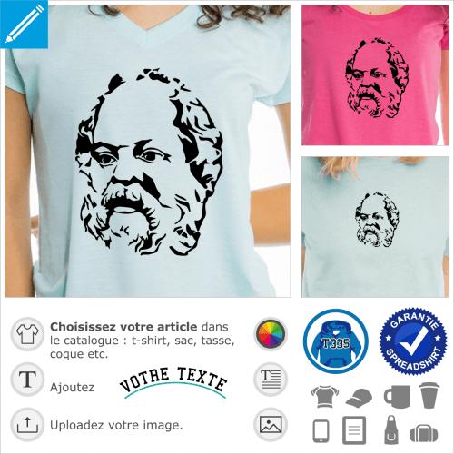 Socrate, portrait classique adapté en format vectoriel d'après un buste antique.