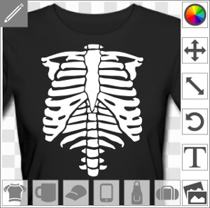 t shirt squelette pour halloween imprimer en phosphorescent. Black Bedroom Furniture Sets. Home Design Ideas