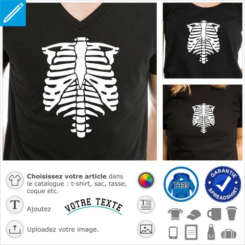 Squelette phosphorescent à imprimer en texture spéciale sur fond sombre pour créer un t-shirt Halloween original.