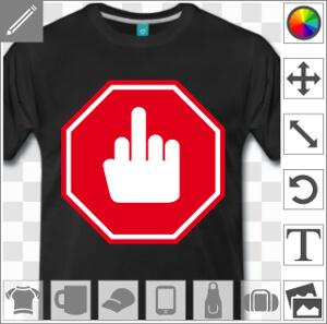 T shirt panneau stop humoristique avec doigt d 39 honneur - Panneau de signalisation personnalise ...